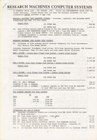Research Machines Price List January 1981