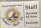 Acorn Social Club Staff Access All Areas Pass