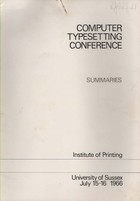 Computer Typesetting Conference Summaries