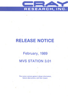 Cray MVS Station 3.01 Release Notice