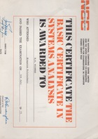 NCC Basic Certificate in Systems Analysis and Further Documents, c. 1975
