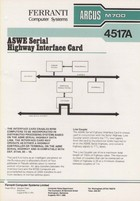 Ferranti Argus M700 4517A ASWE Serial Highway Interface Card