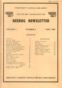 Beebug Newsletter - Volume 1, Number 5 - September 1982