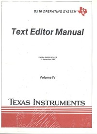 DX 10 Operating System Text Editor Manual Volume IV