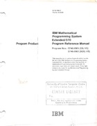 Program Product - IBM Mathematical Programming System Extended/37- Program Reference Manual