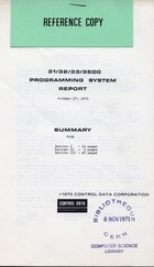 31,32,33,3500 Programming System Report