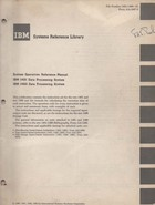 IBM 1401 System operation reference manual