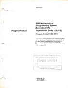 Program Product - IBM Mathematical Programming System Extended/370 Operations Guide (OS/VS)